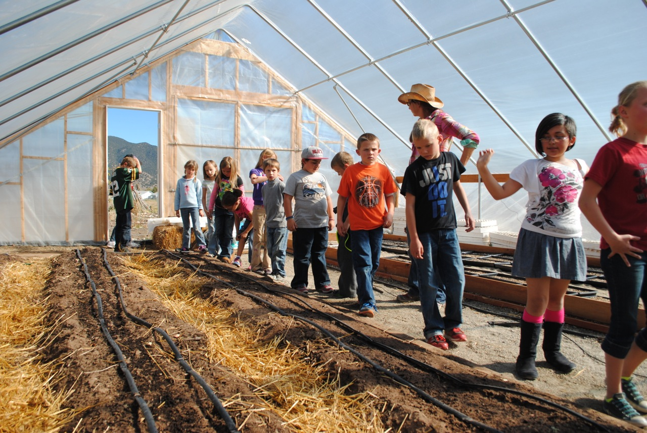 Elementary students visit the Salida School Gardens.