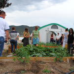 Participants in the Colorado Farm to School Task Force ITA tour the Salida Middle School Garden