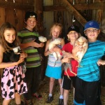 Farmhands meet the chickens at Moonstone Farm.